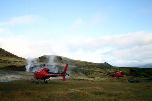 Island Rundflug mit dem Hubschrauber: Landung im Geothermalgebiet Hengill