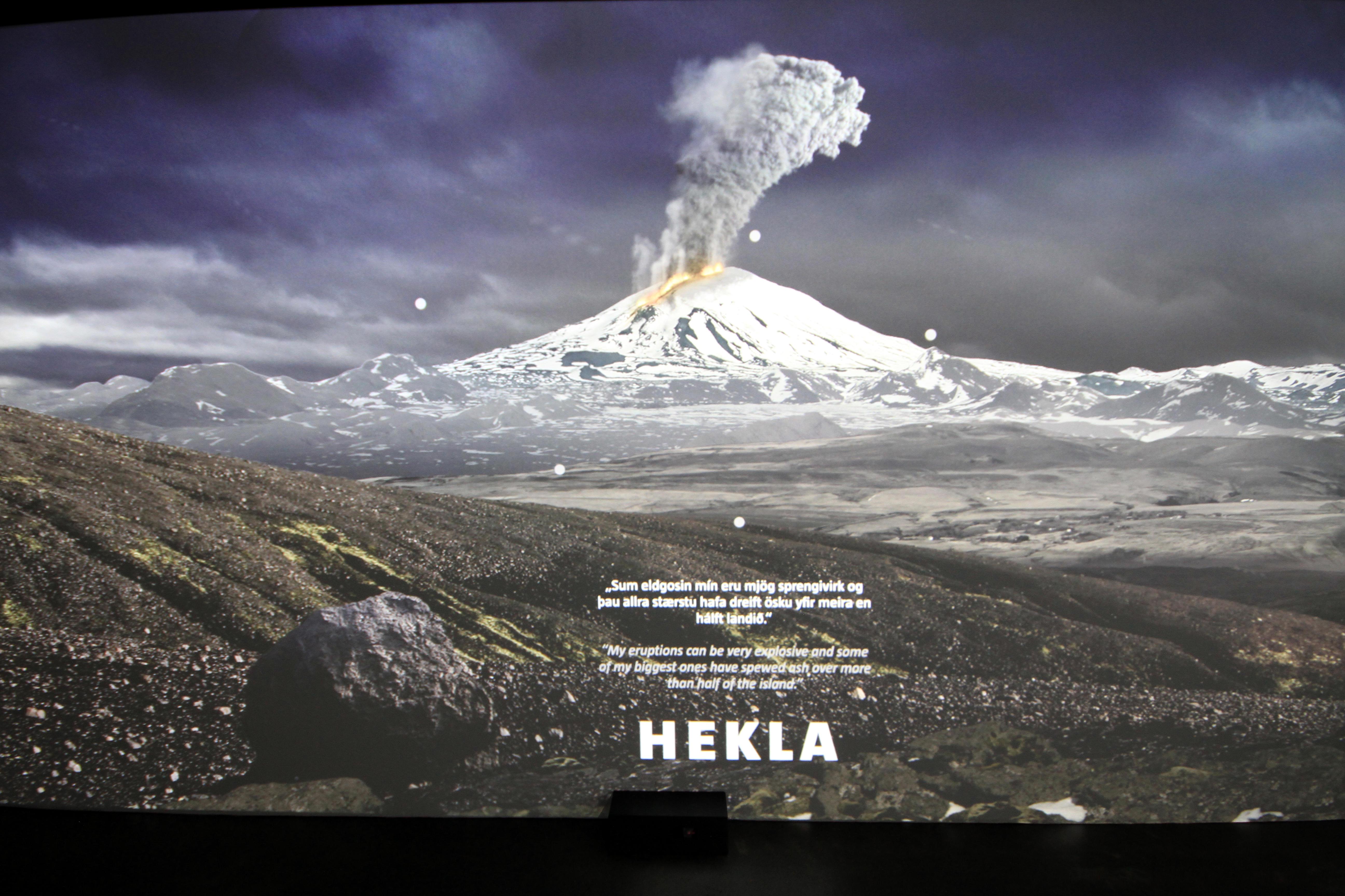 Der Vulkan Hekla, dargestellt im großen Panorama der Vulkane im Lava Center in Island