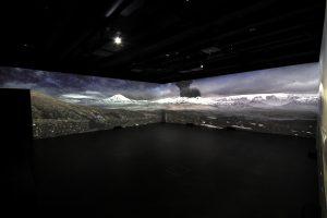 Das Lava Center an Islands Südküste hat eine Halle der Vulkane mit einem riesigen Panorama