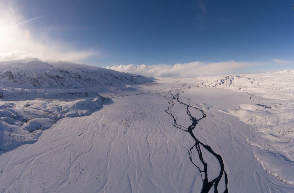 Ausblick über þórsmörk in Island im Winter