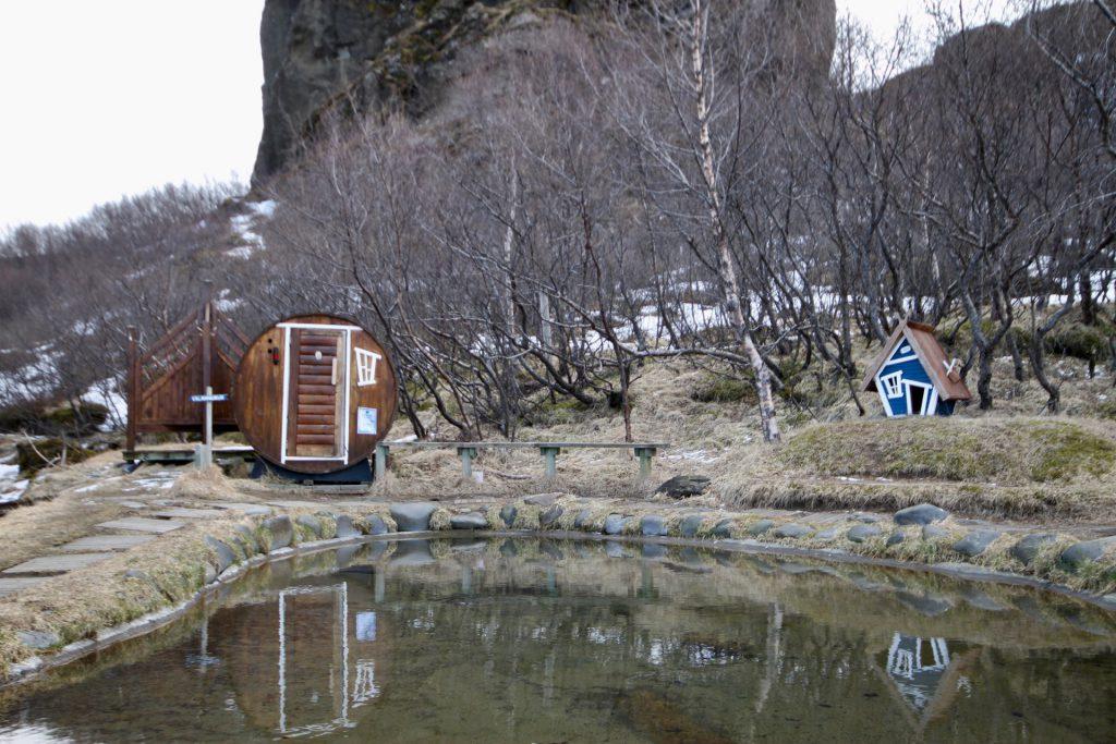 Sauna und Pool der Volcano Huts in Þórsmörk